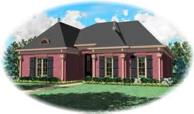 European Style Home Design Plan: 6-1051