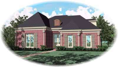 European Style Home Design Plan: 6-1052