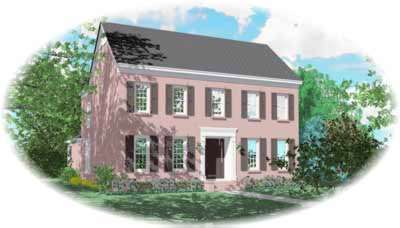 Southern-colonial Style Home Design Plan: 6-1073
