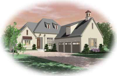 European Style Home Design Plan: 6-1081