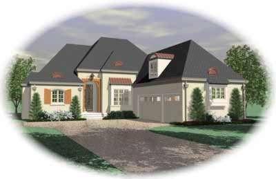 European Style Home Design Plan: 6-1083