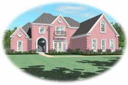 European Style Home Design Plan: 6-1098