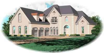 European Style Home Design Plan: 6-1099