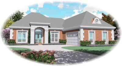 European Style Home Design Plan: 6-1103