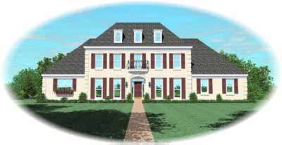 Southern-colonial Style Home Design Plan: 6-1120