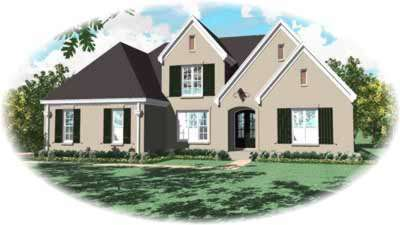 European Style Home Design Plan: 6-1132