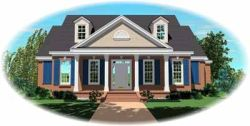 Southern Style Home Design Plan: 6-1136