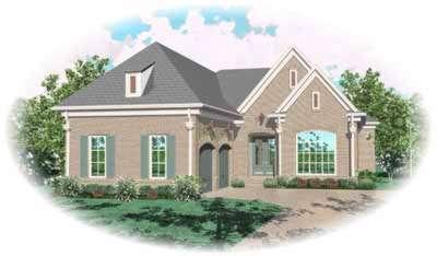 European Style Home Design Plan: 6-1154