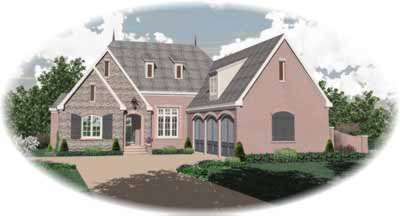 English-country Style Home Design Plan: 6-1176