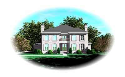 European Style Home Design Plan: 6-1210