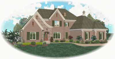 French-country Style Home Design Plan: 6-1221