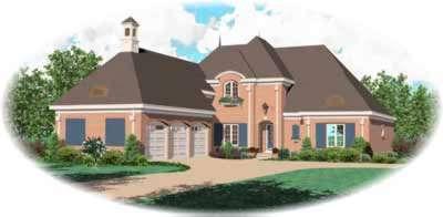 European Style Home Design Plan: 6-1227