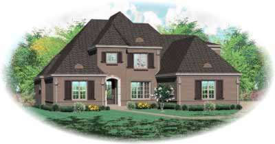 European Style Home Design Plan: 6-1231