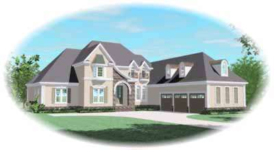 French-country Style Home Design Plan: 6-1244