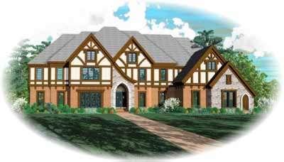 Tudor Style Home Design Plan: 6-1294