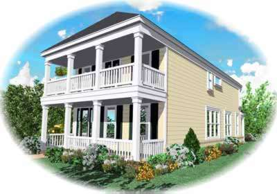Southern-colonial Style Home Design Plan: 6-140
