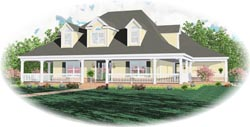 Country Style Home Design Plan: 6-1429