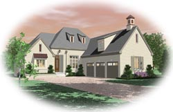 French-Country Style Home Design Plan: 6-1535