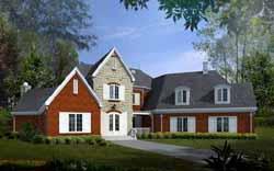European Style Home Design Plan: 6-1874