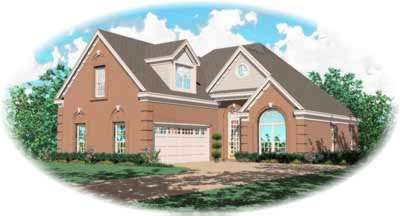 European Style Home Design Plan: 6-208