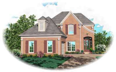 French-country Style Home Design Plan: 6-372