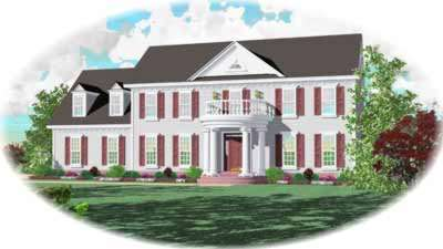 Southern-colonial Style Home Design Plan: 6-479