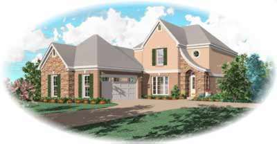 French-country Style Home Design Plan: 6-512