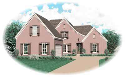 French-country Style Home Design Plan: 6-577