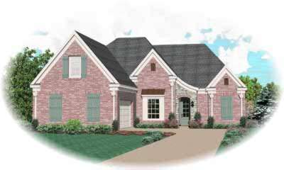 French-country Style Home Design Plan: 6-729