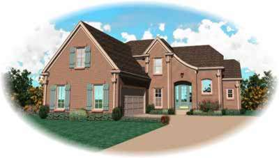French-country Style Home Design Plan: 6-787