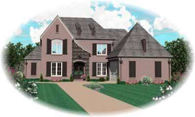 French-country Style Home Design Plan: 6-926
