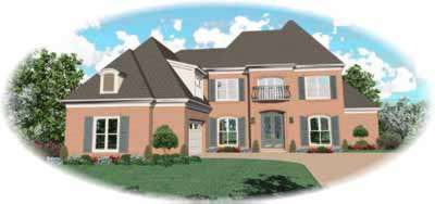French-country Style Home Design Plan: 6-927