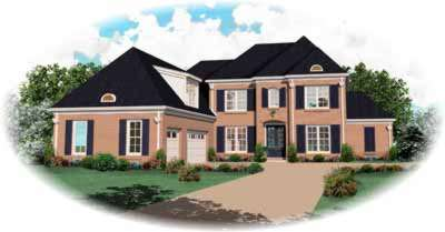 French-country Style Home Design Plan: 6-945
