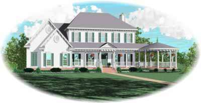 Southern-colonial Style Home Design Plan: 6-951