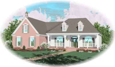 Southern Style Home Design Plan: 6-954