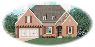 French-country Style Home Design Plan: 6-957