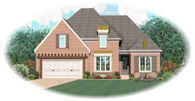 French-country Style Home Design Plan: 6-958