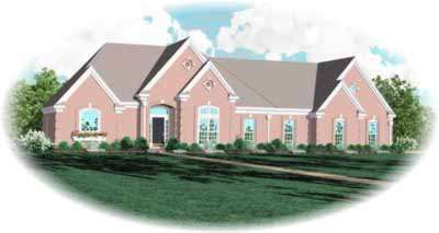 European Style Home Design Plan: 6-987