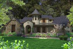 French-Country Style Home Design Plan: 61-125
