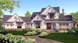 Modern-Farmhouse Style Home Design Plan: 61-174