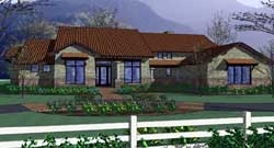Southwest Style Home Design Plan: 61-176