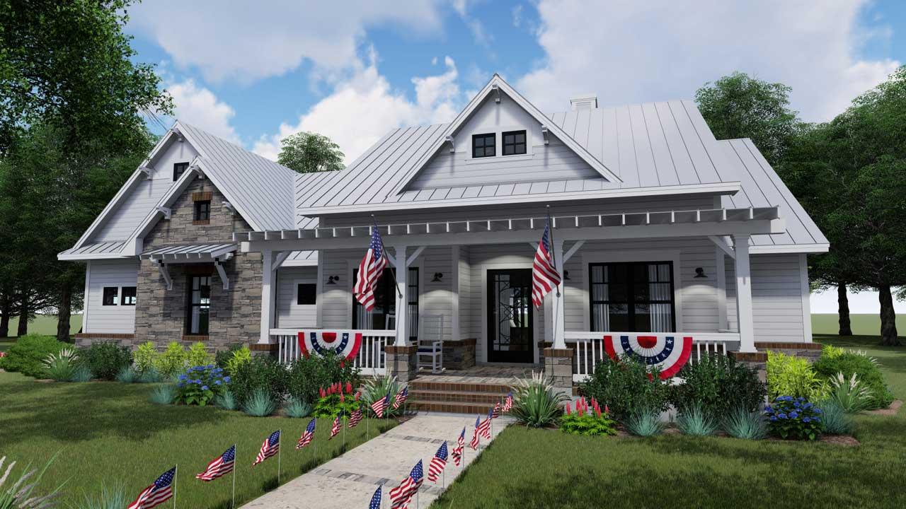 Modern-Farmhouse Style House Plans Plan: 61-205
