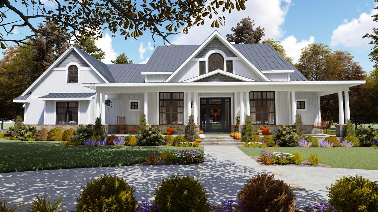 Modern-farmhouse Style Home Design Plan: 61-206
