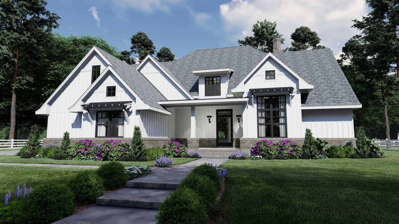 Modern-farmhouse Style Home Design Plan: 61-207