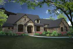 French-Country Style Home Design Plan: 61-208