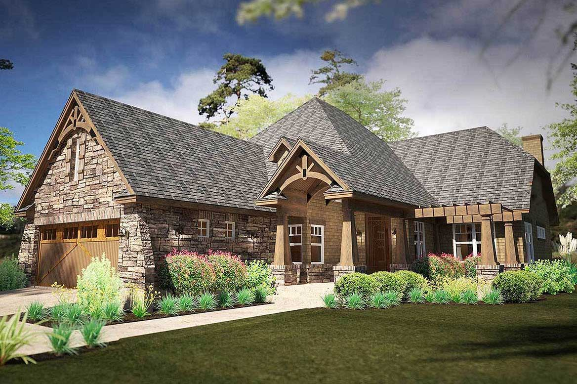 French-country Style Home Design Plan: 61-209