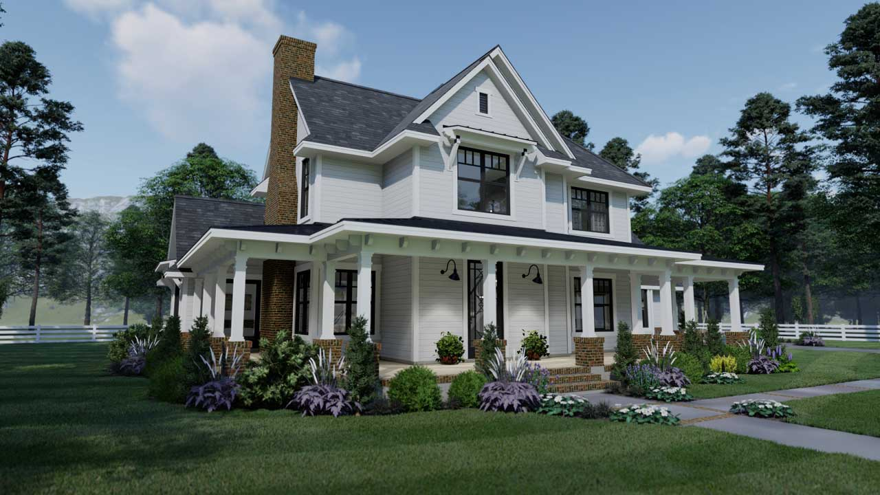 Modern-farmhouse Style Home Design Plan: 61-211