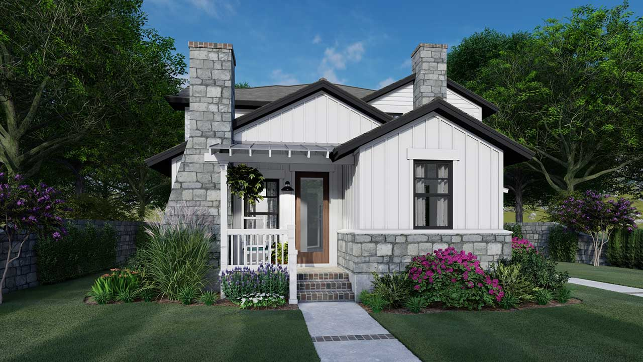 Cottage Style Home Design Plan: 61-215