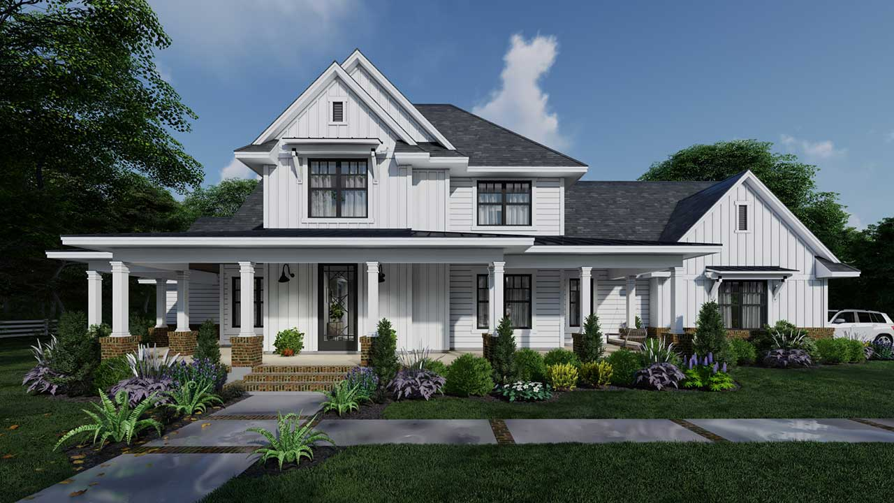 Modern-Farmhouse Style House Plans Plan: 61-217