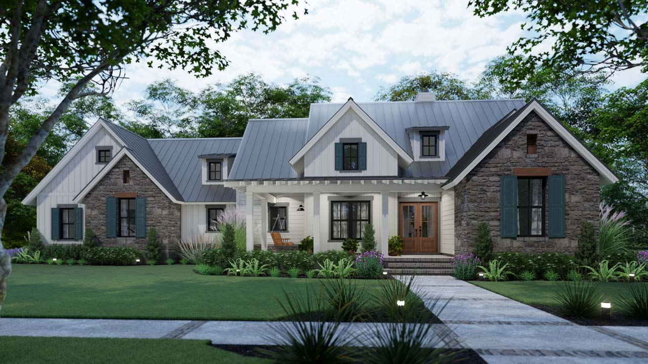 Modern-farmhouse Style Home Design 61-221